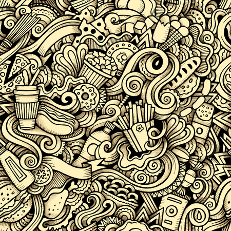 chicken and egg: Cartoon hand-drawn doodles on the subject of Fast Food style theme seamless pattern. Contour trace vector background