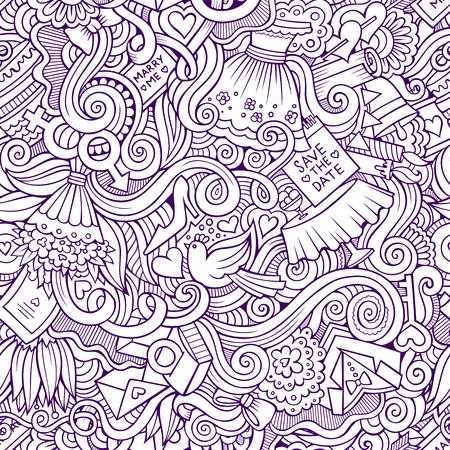 Cartoon vector doodles hand drawn wedding seamless pattern 矢量图片