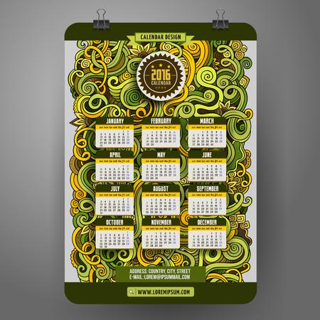 paper art: Doodles cartoon curls ornamental floral Calendar 2016 year design, English, Sunday start.