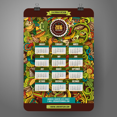 picchu: Doodles cartoon Latin American Calendar 2016 year design, English, Sunday start.