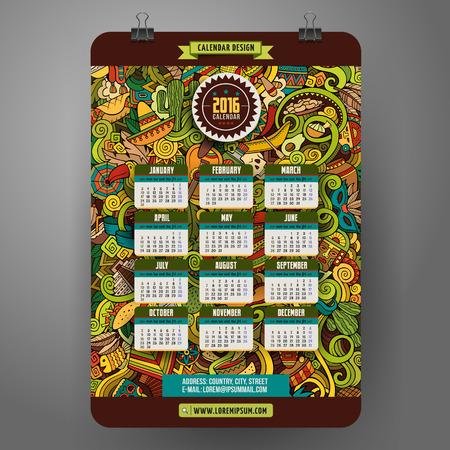 calendar: Doodles kreskówki Ameryki Łacińskiej Kalendarz 2.016 lata projekt, angielski, niedziela początek. Ilustracja