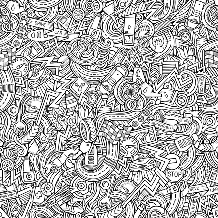 hand key: Cartoon hand-drawn doodles on the subject of car style theme seamless pattern. Vector background