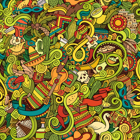 mexicans: Cartoon hand-drawn doodles on the subject of Latin American style theme seamless pattern. Colorful vector background