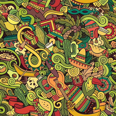 mayan culture: Cartoon hand-drawn doodles on the subject of Latin American style theme seamless pattern. Colorful vector background