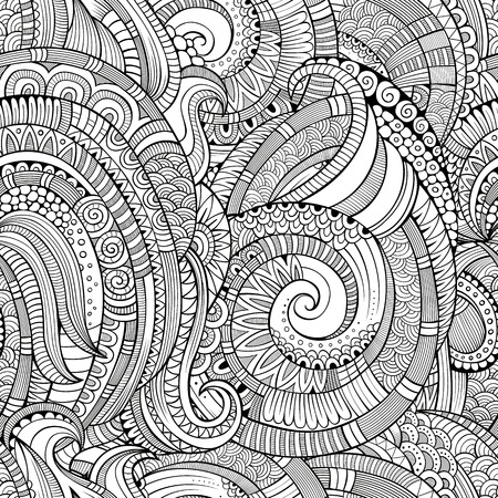 retro floral: Vintage decorative abstract hand drawn ornamental spiral seamless pattern. Vector background Illustration