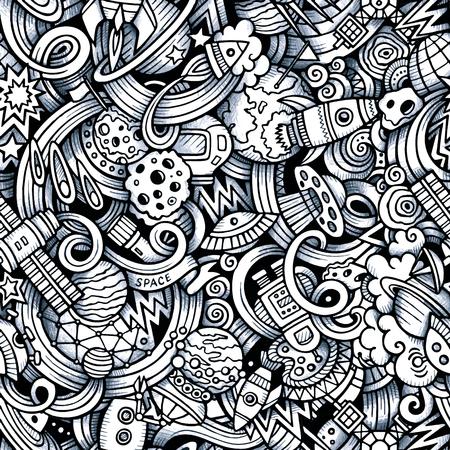 Cartoon hand getekende doodles op het gebied van ruimte stijl thema naadloos patroon. Vector trace achtergrond