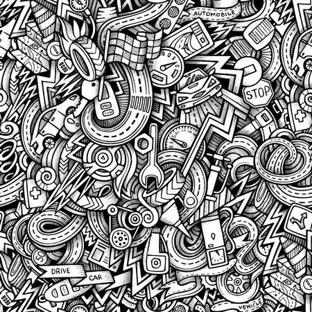 repuestos de carros: Garabatos de dibujos animados dibujados a mano, sobre el tema de tema de estilo de coche sin patr�n. Vector rastro de fondo