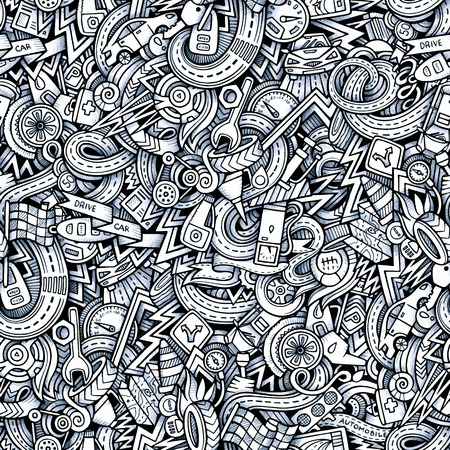Cartoon hand-drawn sketchy doodles on the subject of car style theme seamless pattern. Vector trace background Иллюстрация