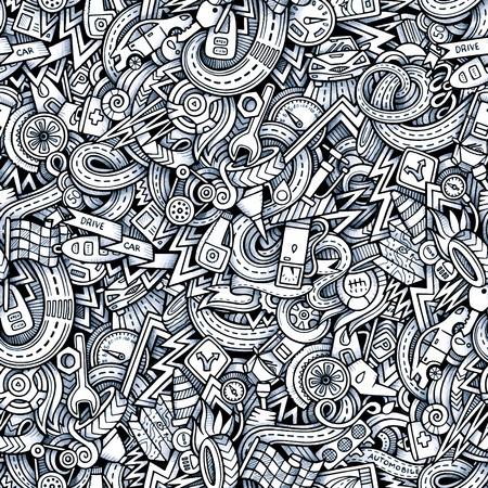 Cartoon hand getekende schetsmatig doodles op het onderwerp van auto stijl thema naadloos patroon. Vector trace achtergrond