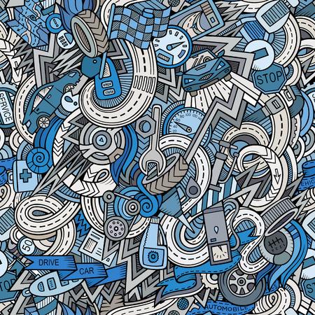 Cartoon hand getekende schetsmatig doodles op het onderwerp van auto stijl thema naadloos patroon. Vector achtergrond