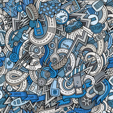 Cartoon hand-drawn sketchy doodles on the subject of car style theme seamless pattern. Vector background