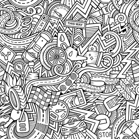 mechanic: Cartoon hand-drawn sketchy doodles on the subject of car style theme seamless pattern. Vector background