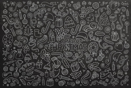 doodle: Chalkboard vector hand drawn Doodle cartoon set of objects and symbols on the Merry Christmas theme Illustration