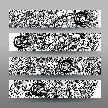 story: Cartoon vector hand-drawn sketchy trace Doodle on the subject of cinema. Horizontal banners design templates set