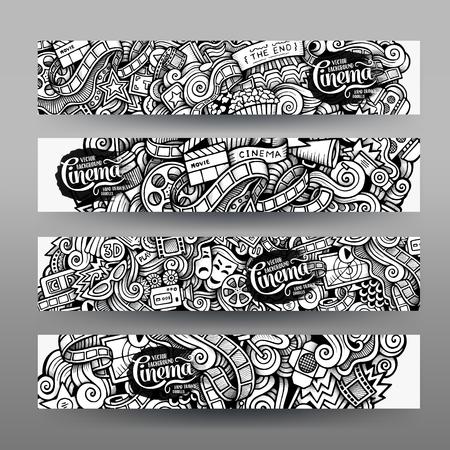 Cartoon vector hand getekende schetsmatig trace Doodle over het onderwerp van de cinema. Horizontale banners ontwerp sjablonen set