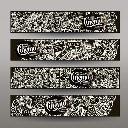 filmstrip: Cartoon vector hand-drawn inverse sketchy trace Doodle on the subject of cinema. Horizontal banners design templates set Illustration