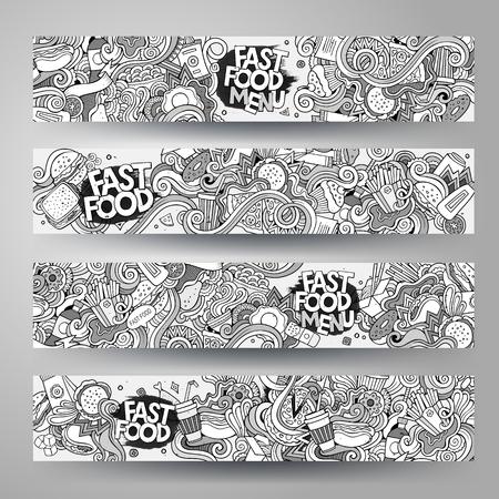 漫画は、ファーストフードをテーマに手描きスケッチ落書きをベクトルします。水平方向のバナー デザイン テンプレート セット