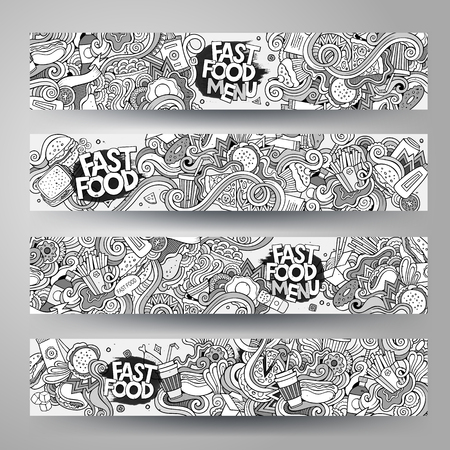 Cartoon vector hand-drawn sketchy Doodle on the subject of fast food. Horizontal banners design templates set Illustration