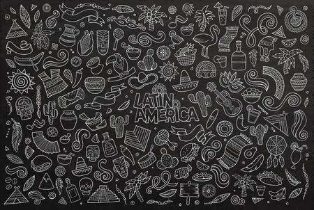 latin american: Chalkboard vector hand drawn Doodle cartoon set of objects and symbols on the Latin America theme