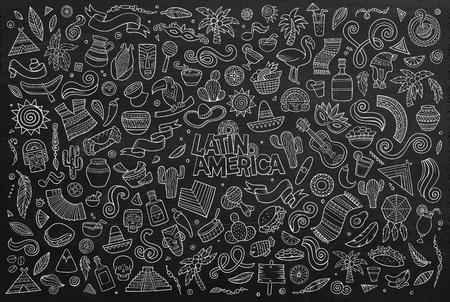 america del sur: Pizarra vector de la mano Conjunto de la historieta dibujada Doodle de objetos y símbolos en el tema de América Latina