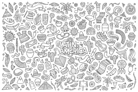 Sketchy vector hand drawn Doodle cartoon set of objects and symbols on the Latin America theme