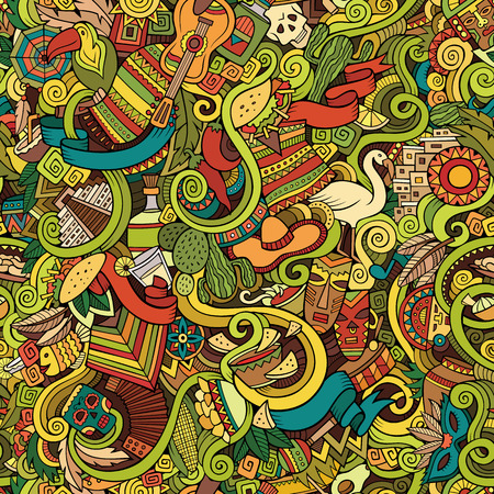 latin american: Cartoon hand-drawn doodles on the subject of Latin American style theme seamless pattern. Colorful vector background