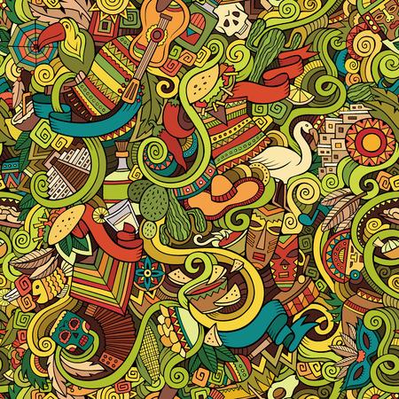 america del sur: Garabatos de dibujos animados dibujados a mano, sobre el tema de patrón transparente tema de estilo latinoamericano. Fondo colorido del vector