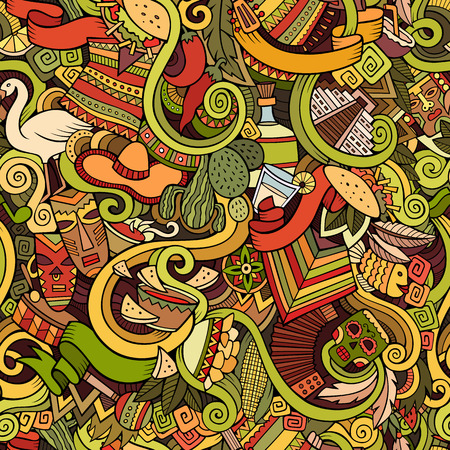 picchu: Cartoon hand-drawn Doodles on the subject of Latin American style theme seamless pattern. Colorful vector background Illustration