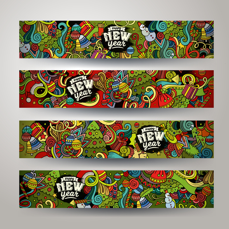 Cartoon vector hand-drawn Doodle on the subject of New Year & Crhristmas. Horizontal banners design templates set Illustration