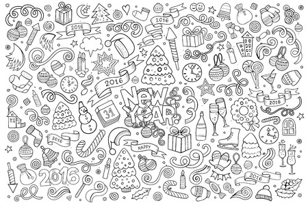 Sketchy vector hand drawn Doodle cartoon set of objects and symbols on the New Year theme Çizim