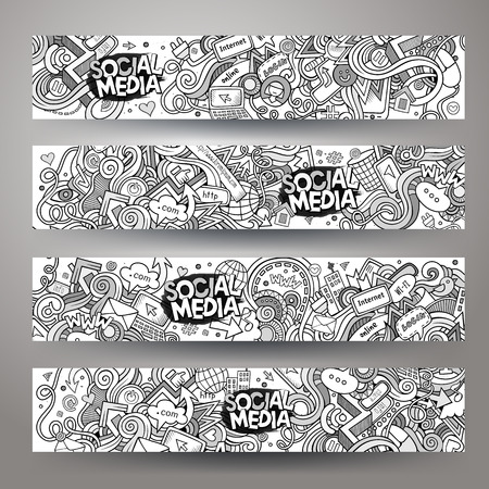 network and media: Cartoon vector hand-drawn sketchy social media, internet doodles. Horizontal banners design templates set Illustration