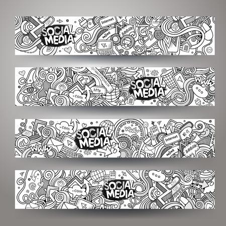 médias: tiré par la main-vectorielle Cartoon médias sociaux sommaires, griffonnages Internet. bannières horizontales modèles de conception définies