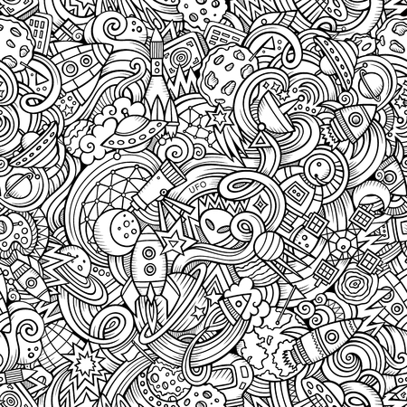 Cartoon hand-drawn doodles on the subject of space style theme seamless pattern. Vector  background Ilustração