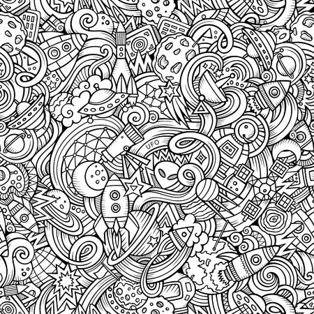 sol caricatura: Garabatos de dibujos animados dibujados a mano, sobre el tema de tema de espacio estilo sin patrón. Vector de fondo