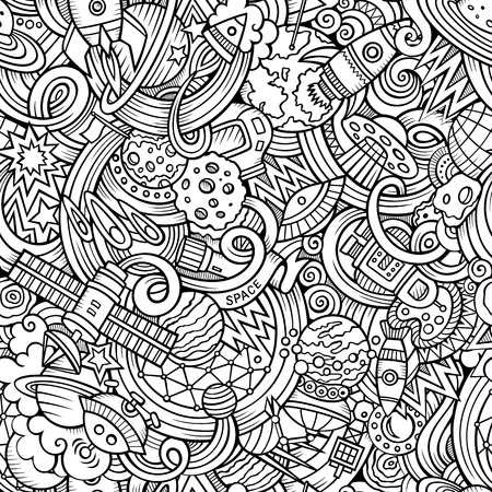 luna caricatura: Garabatos de dibujos animados dibujados a mano, sobre el tema de tema de espacio estilo sin patr�n. Vector de fondo