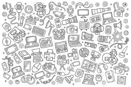 objects equipment: Sketchy vector hand drawn Doodle cartoon set of equipment and devices objects and symbols