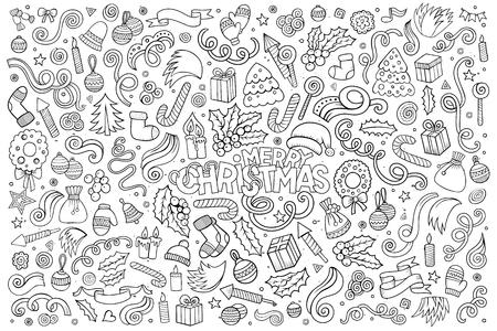 estrella caricatura: la mano del vector conjunto de dibujos animados Doodle dibujado de objetos y s�mbolos en el tema Feliz Navidad