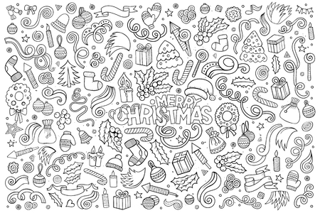 santa claus background: Vector hand drawn Doodle cartoon set of objects and symbols on the Merry Christmas theme