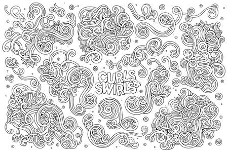 Line art vector hand drawn Doodle cartoon set of curls and swirls decorative elements Vettoriali