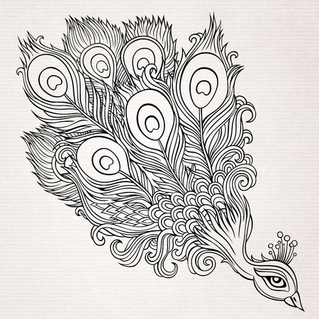 looks: Decorative abstract ornamental peacock background. Vector illustration