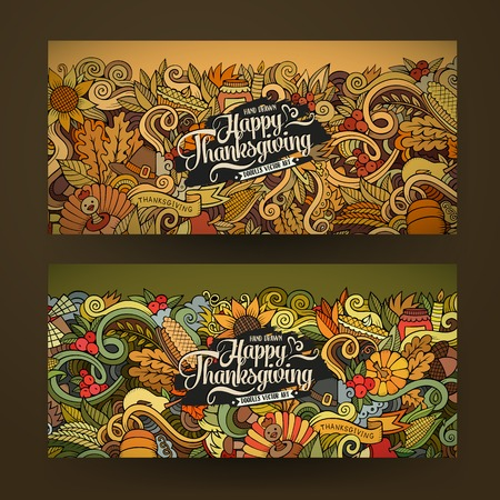 Cartoon vector hand-drawn Doodle Happy Thanksgiving Day cards. Horizontal banners design templates set