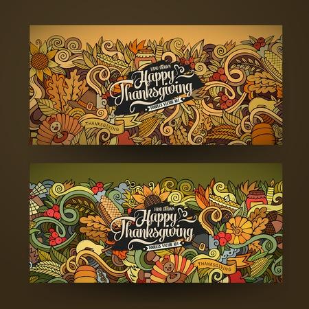 calabaza caricatura: Doodle feliz Día de Acción de Gracias tarjetas de dibujos animados de vectores dibujados a mano. Banderas horizontales establecen plantillas de diseño Vectores