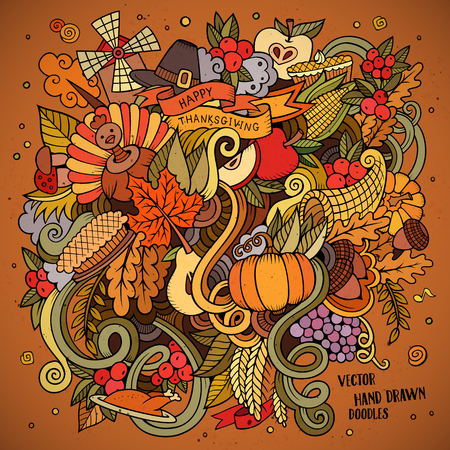 retro cartoon: Cartoon vector hand drawn Doodle Thanksgiving illustration. Colorful design background with objects and symbols.