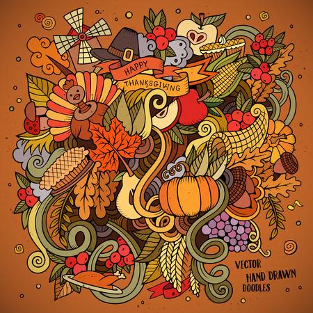 calabaza caricatura: Vector de la historieta dibujado a mano ilustraci�n Doodle de Acci�n de Gracias. Dise�o de fondo colorido con los objetos y s�mbolos.