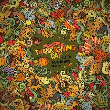 cuerno de la abundancia: vector de dibujos dibujado a mano marco Doodle de Acción de Gracias. Tarjeta de fondo de diseño colorido con los objetos y símbolos.