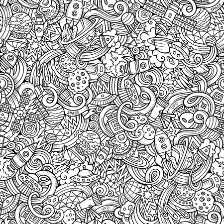 Cartoon hand-drawn doodles on the subject of space style theme seamless pattern. Vector  background Stok Fotoğraf - 48109734