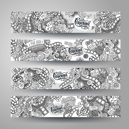 action: Cartoon vector hand-drawn sketchy Doodle on the subject of cinema. Horizontal banners design templates set