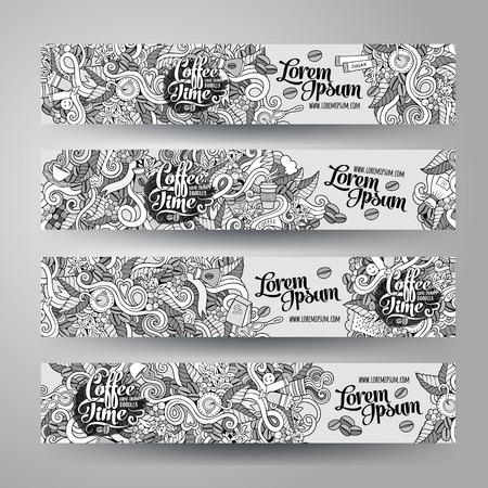 Cartoon vector hand-drawn sketchy Doodle on the subject of coffee. Horizontal banners design templates set