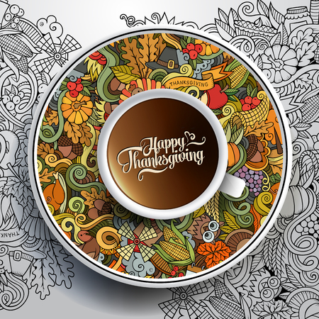 Vector illustratie met een kopje koffie en hand getekende Thanksgiving doodles op een schotel en achtergrond