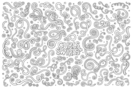 hand set: Line art vector hand drawn Doodle cartoon set of curls and swirls decorative elements Illustration